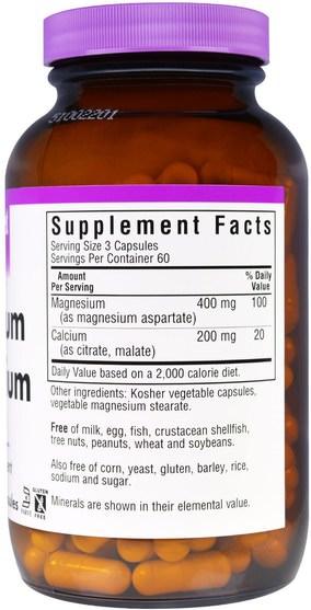 補品,礦物質,鎂 - Bluebonnet Nutrition, Magnesium Plus Calcium, 2:1 Ratio, 180 Veggie Caps