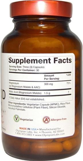 補品,礦物質,鎂 - Olympian Labs Malic Acid, with Magnesium, 90 Veggie Caps