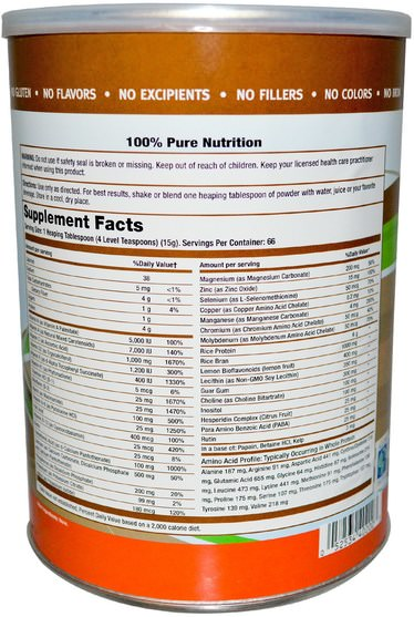 補充劑,礦物質,多種礦物質,所有一個nutritech米基 - All One, Nutritech, Rice Base, Multiple Vitamin & Mineral Powder, Unflavored, 2.2 lbs (1000 g)