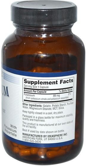 補充劑,礦物質,鉀 - Twinlab, Potassium Caps, 180 Capsules