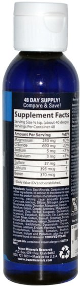 補品,礦物質,微量元素 - Trace Minerals Research, ConcenTrace, Trace Mineral Drops, 4 fl oz (118 ml)