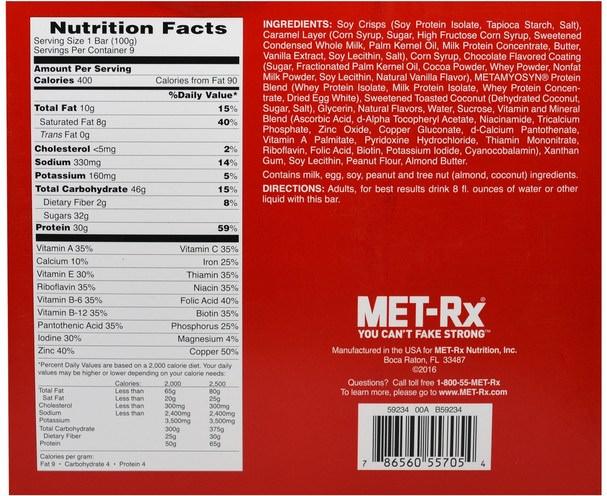 補品,營養棒,小吃 - MET-Rx, Big 100 Colossal, Meal Replacement Bar, Chocolate Caramel Coconut, 9 Bars, 3.52 oz (100 g) Each