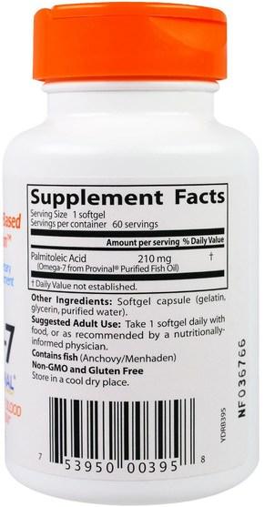 補充劑,omega-7 - Doctors Best, Omega-7, 210 mg, 60 Softgels