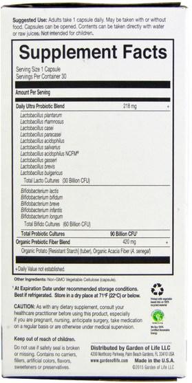 補充劑,益生菌,冰冷藏產品 - Garden of Life, Dr. Formulated Probiotics, Once Daily Ultra, 30 Veggie Caps (Ice)