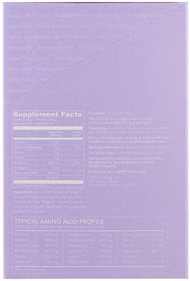 補充劑,蛋白質,骨骼,骨質疏鬆症,膠原蛋白 - Vital Proteins, Collagen Beauty Water, Lavender Lemon, 14 Packets, 0.46 oz (13 g) Each