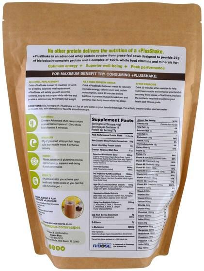 補充劑,蛋白質 - Greens Plus, Plusshake, Meal Replacement, Raw Chocolate, 1.5 lb (690 g)