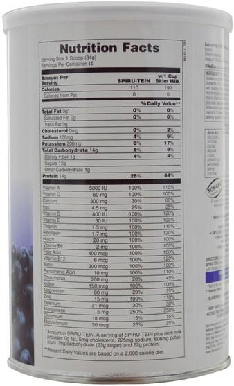 補充劑,蛋白質 - Natures Plus, Spiru-Tein, High Protein Energy Meal, Blueberries & Cream, 1.12 lbs (510 g)