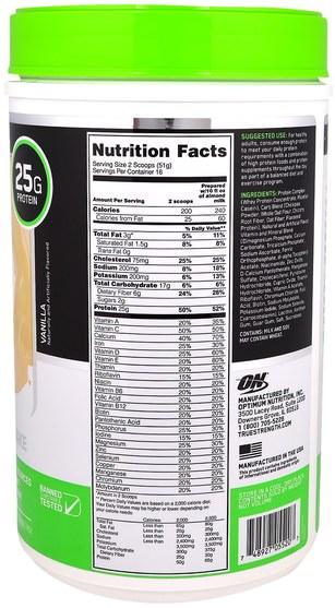補充劑,蛋白質奶昔,運動 - Optimum Nutrition, Opti-Fit Lean Protein Shake, Vanilla, 1.8 lb (816 g)