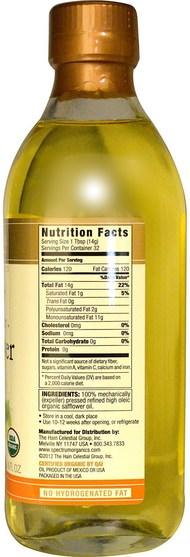 補充劑,紅花油,食用油酒和醋 - Spectrum Naturals, Organic Safflower Oil, High Heat, 16 fl oz (473 ml)