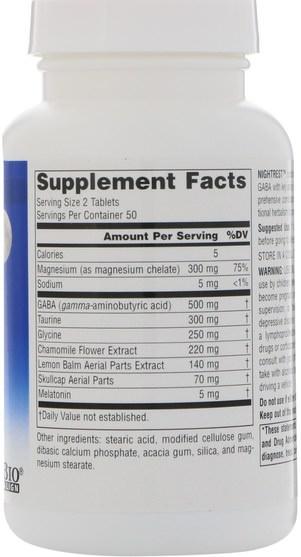 補充劑,睡眠,褪黑激素 - Source Naturals, NightRest, with Melatonin, 100 Tablets