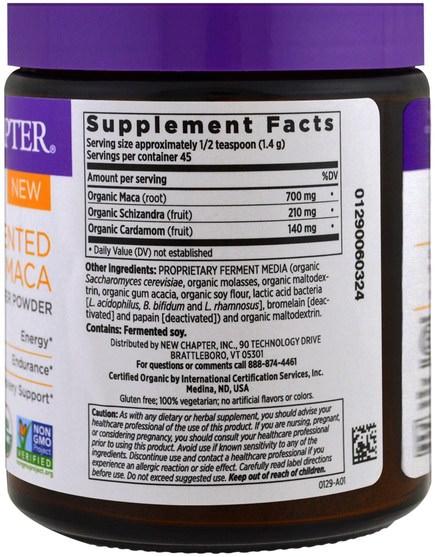 補品,超級食品 - New Chapter, Fermented Maca Booster Powder, 2.2 oz (63 g)