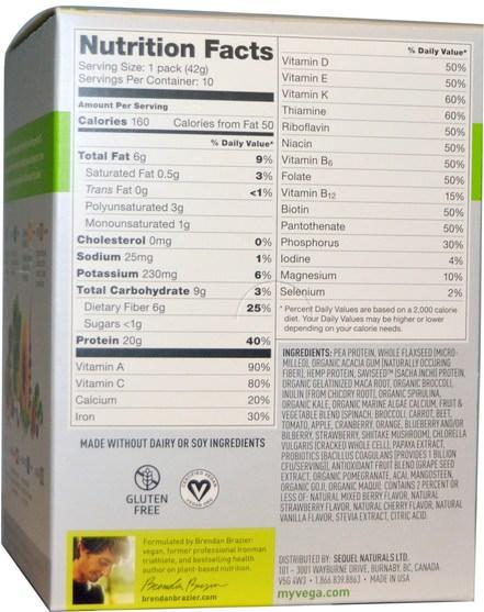 補品,超級食品 - Vega, Vega One, All-in-One Nutritional Shake, Mixed Berry Flavor, 10 Packets, 1.5 oz (42 g) Each