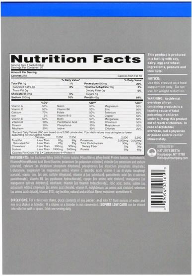 補充劑,乳清蛋白 - Natures Best, IsoPure, IsoPure, Low Carb Protein Powder, Creamy Vanilla, 20 Packets, 2.24 oz (64 g) Each