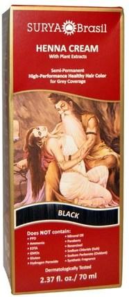 Henna Cream, Hair Color and Conditioner, Black, 2.37 fl oz (70 ml) by Surya Henna, 洗澡,美容,頭髮,頭皮,頭髮的顏色,頭髮護理 HK 香港