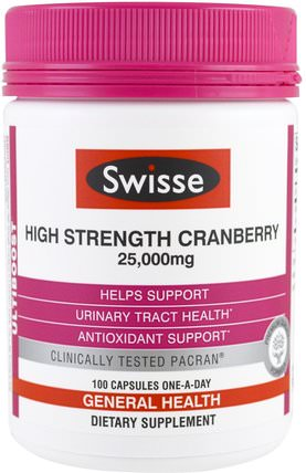 Ultiboost, High Strength Cranberry, 25.000 mg, 100 Capsules by Swisse, 草藥,蔓越莓 HK 香港