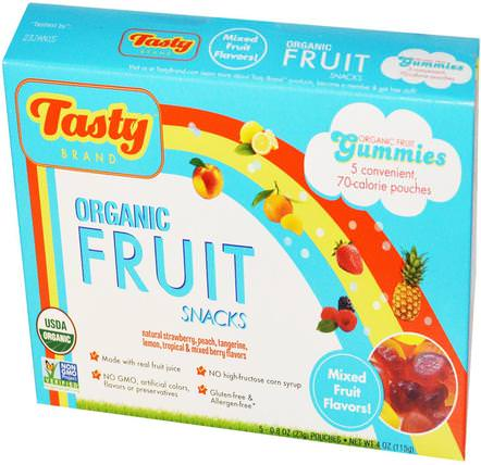 Organic Fruit Snack Gummies, Mixed Fruit Flavors, 5 Pouches, 0.8 oz (23 g) Each by Tasty Brand, 食物,小吃,糖果 HK 香港