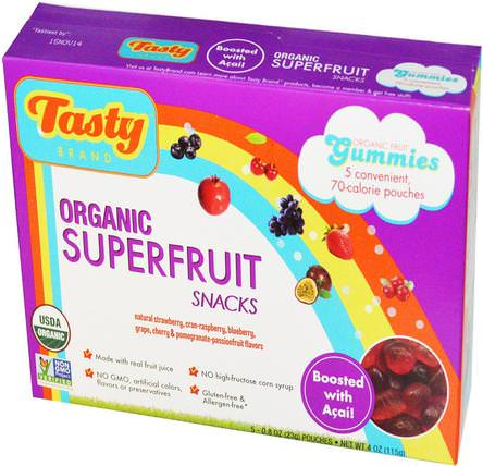 Organic Superfruit Snack Gummies, Boosted with Acai, 5 Pouches, 0.8 oz (23 g) Each by Tasty Brand, 食物,小吃,糖果 HK 香港