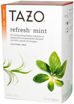 Herbal Tea, Refresh Mint, Caffeine-Free, 20 Filterbags, 0.8oz (24 g) by Tazo Teas, 食物,涼茶 HK 香港