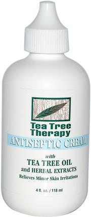 Antiseptic Cream, with Tea Tree Oil and Herbal Extracts, 4 fl oz (118 ml) by Tea Tree Therapy, 健康,皮膚,茶樹,茶樹製品,傷害燒傷 HK 香港