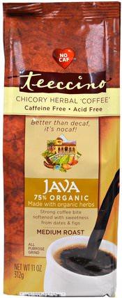 Chicory Herbal Coffee, Java, Medium Roast, Caffeine Free, 11 oz (312 g) by Teeccino, 食物,咖啡,咖啡粉,草藥咖啡替代品 HK 香港
