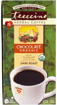 Herbal Coffee, Dark Roast, Organic Chocolate, Caffeine Free, 25 Tee-Bags, 5.3 oz (150 g) by Teeccino, 食物,咖啡無咖啡因,咖啡黑烤 HK 香港