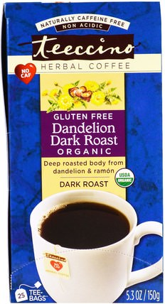 Herbal Coffee, Dark Roast, Organic Dandelion, Caffeine Free, 25 Tee-Bags, 5.3 oz (150 g) by Teeccino, 食物,咖啡黑烤 HK 香港