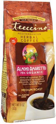 Mediterranean Herbal Coffee, Medium Roast, Almond Amaretto, Caffeine Free, 11 oz (312 g) by Teeccino, 食物,咖啡,咖啡粉 HK 香港