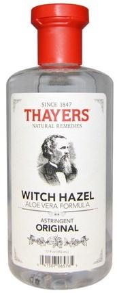 Witch Hazel, Aloe Vera Formula, Original, 12 fl oz (355 ml) by Thayers, 美容,面部調色劑,皮膚,金縷梅 HK 香港