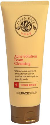 Acne Solution Foam Cleansing, 5.07 fl oz (150 ml) by The Face Shop, 洗澡,美容,面部護理,洗面奶 HK 香港