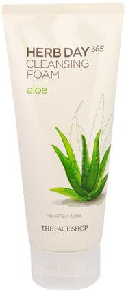Herb Day 365, Cleansing Foam, Aloe, 5.74 fl oz (170 ml) by The Face Shop, 美容,面部護理,洗面奶,健康,皮膚 HK 香港