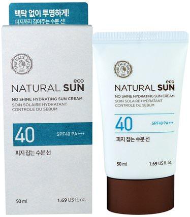 Natural Sun, No Shine Hydrating Sun Cream, SPF40 PA+++, 1.69 fl oz (50 ml) by The Face Shop, 洗澡,美容,面部護理,spf面部護理 HK 香港