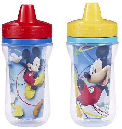 The First Years, Disney Mickey Mouse, Insulated Sippy Cups, 9+ Months, 2 Pack - 9 oz (266 ml) 兒童健康,嬰兒餵養,吸管杯