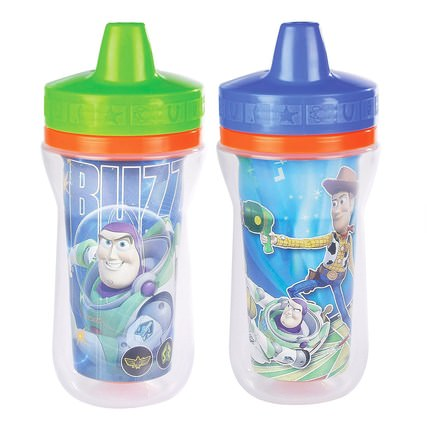 The First Years, Disney Pixar, Toy Story 3, Insulated Sippy Cups, 9+ Months, 2 Pack - 9 oz (266 ml) Each 兒童健康,嬰兒餵養,吸管杯