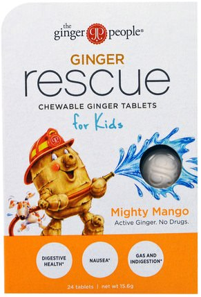 Ginger Rescue, Chewable Ginger Tablets for Kids, Mighty Mango, 24 Tablets (15.6 g) by The Ginger People, 兒童的健康,消化,胃 HK 香港
