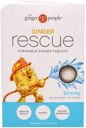 Ginger Rescue, Chewable Ginger Tablets, Strong, 24 Tablets (15.6 g) by The Ginger People, 草藥,生薑根,消化,胃 HK 香港