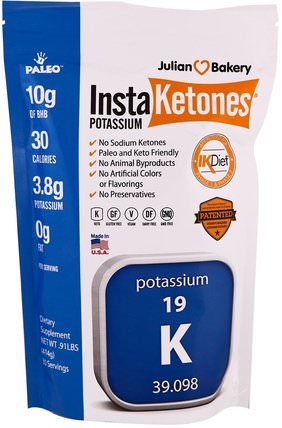 InstaKetones Potassium.91 lbs (414 g) by The Julian Bakery, 補充劑,礦物質,鉀 HK 香港