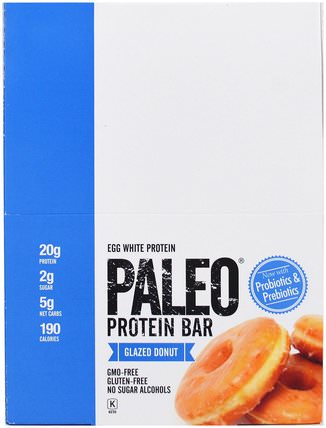 Paleo Protein Bar, Glazed Donut, 12 Bars, 2.12 oz (60 g) Each by The Julian Bakery, 運動,蛋白質棒 HK 香港