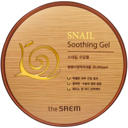 Snail Soothing Gel, 10.14 fl oz (300 ml) by The Saem, 美容,面部護理,面霜,乳液,浴 HK 香港