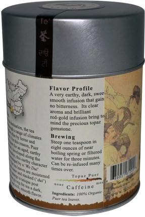 100% Organic Puer Tea, Topaz Puer, 3.5 oz (100 g) by The Tao of Tea, 食物,涼茶,普洱茶 HK 香港