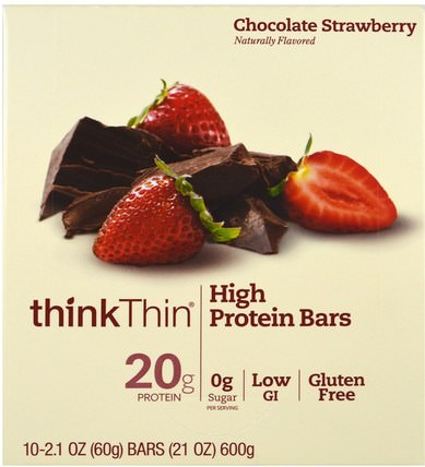 High Protein Bars, Chocolate Strawberry, 10 Bars, 2.1 oz (60 g) Each by ThinkThin, 運動,蛋白質棒 HK 香港