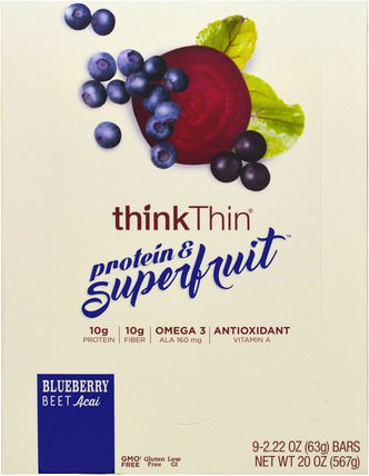 Protein & Superfruit, Blueberry Beet Acai, 9 Bars, 2.22 oz (63 g) Each by ThinkThin, 食物,小吃,健康零食,酒吧 HK 香港