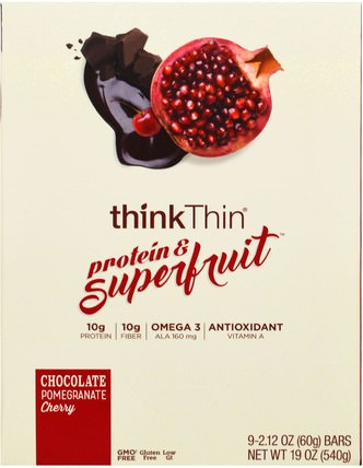 Protein & Superfruit, Chocolate Pomegranate Cherry, 9 Bars, 2.12 oz (60 g) Each by ThinkThin, 食物,小吃,健康零食,酒吧 HK 香港