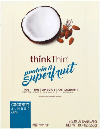 Protein & Superfruit, Coconut Almond Chia, 9 Bars, 2.19 oz (62 g) Each by ThinkThin, 食物,小吃,健康零食,酒吧 HK 香港