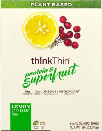 Protein & Superfruit, Lemon Cranberry Chia, 9 Bars, 2.12 oz (60 g) Each by ThinkThin, 食物,小吃,健康零食,酒吧 HK 香港
