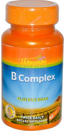 B Complex, Plus Rice Bran, 60 Tablets by Thompson, 維生素,維生素b複合物 HK 香港