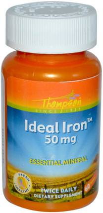 Ideal Iron, 50 mg, 60 Tablets by Thompson, 補品,礦物質,鐵 HK 香港