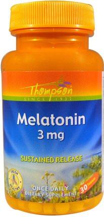 Melatonin, 3 mg, 30 Tablets by Thompson, 補充劑,褪黑激素,健康 HK 香港