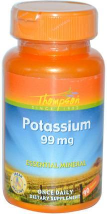 Potassium, 99 mg, 90 Tablets by Thompson, 補充劑,礦物質,鉀 HK 香港
