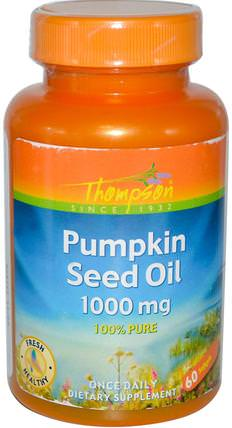 Pumpkin Seed Oil, 1000 mg, 60 Softgels by Thompson, 補充劑,efa omega 3 6 9(epa dha),南瓜籽油 HK 香港