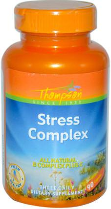 Stress Complex, 90 Capsules by Thompson, 維生素,維生素B複合物,健康,抗壓力 HK 香港